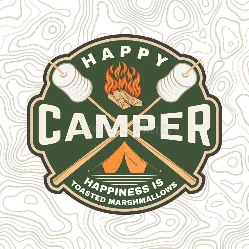 Gelukkig kampeerautoflard Het geluk is geroosterde heemst Vector Uitstekend typografieontwerp met het kamperen tent, kampvuur vector illustratie