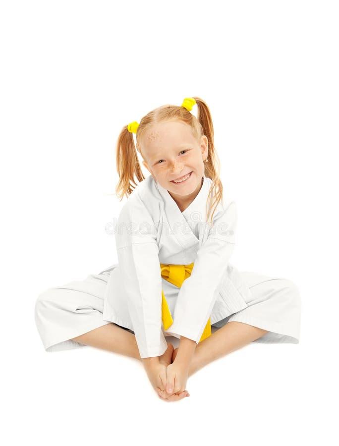 Gelukkig karatemeisje royalty-vrije stock foto