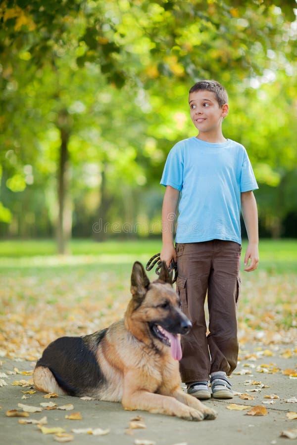 Gelukkig kind met een Duitse herder Dog in het park stock fotografie