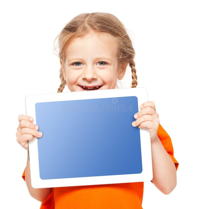 Gelukkig kind met tablet stock fotografie