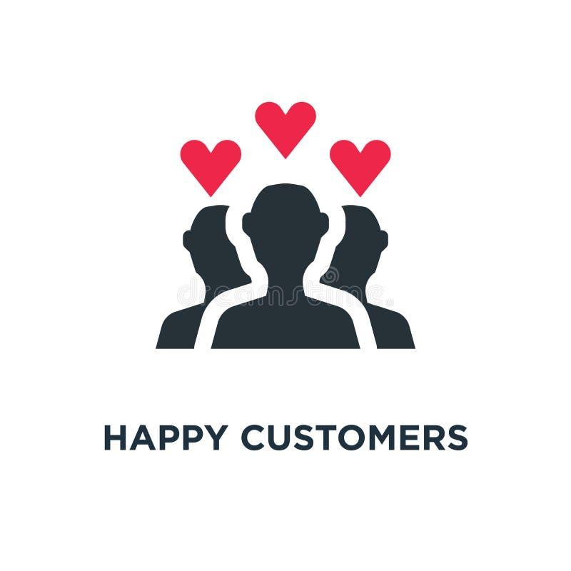gelukkig klantenpictogram het ontwerp van het het conceptensymbool van de cliënttevredenheid stock fotografie