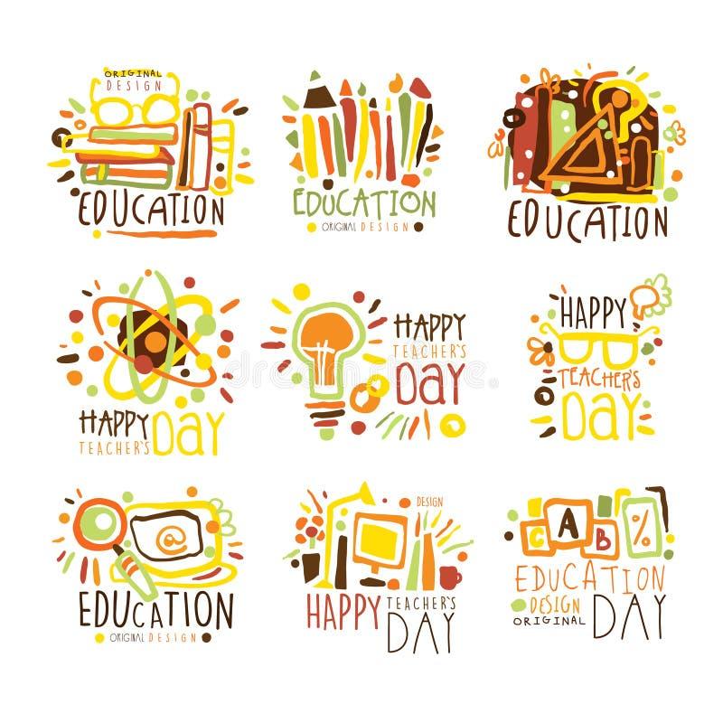 Gelukkig Kleurrijk Grafisch het Ontwerpmalplaatje Logo Set, Hand van de Lerarendag Getrokken Vectorstencils royalty-vrije illustratie