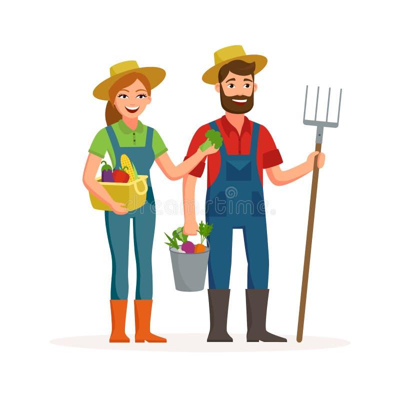 Gelukkig landbouwers vector vlak die ontwerp op witte achtergrond wordt geïsoleerd Beeldverhaalkarakters van man en vrouwen de la vector illustratie