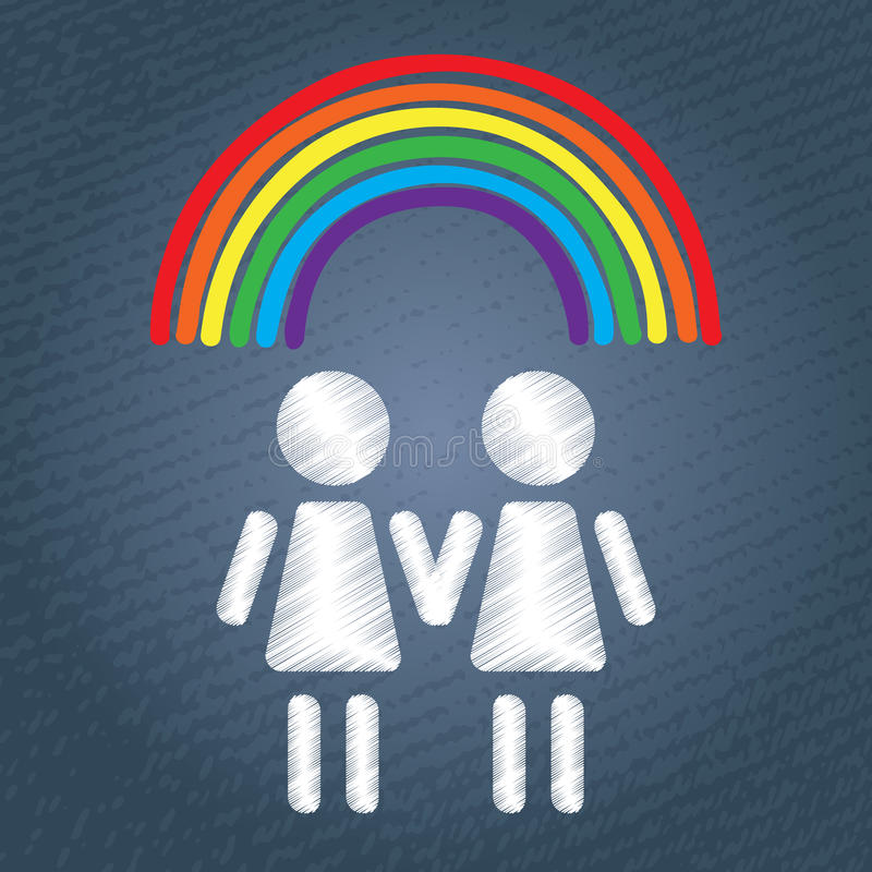 Gelukkig lesbisch paar stock illustratie