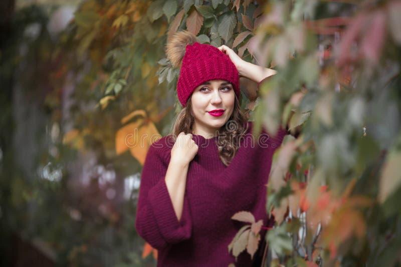 Gelukkig levensstijlportret van een mooi jong modelmeisje met een glimlach in een warme de herfstsweater stock foto's
