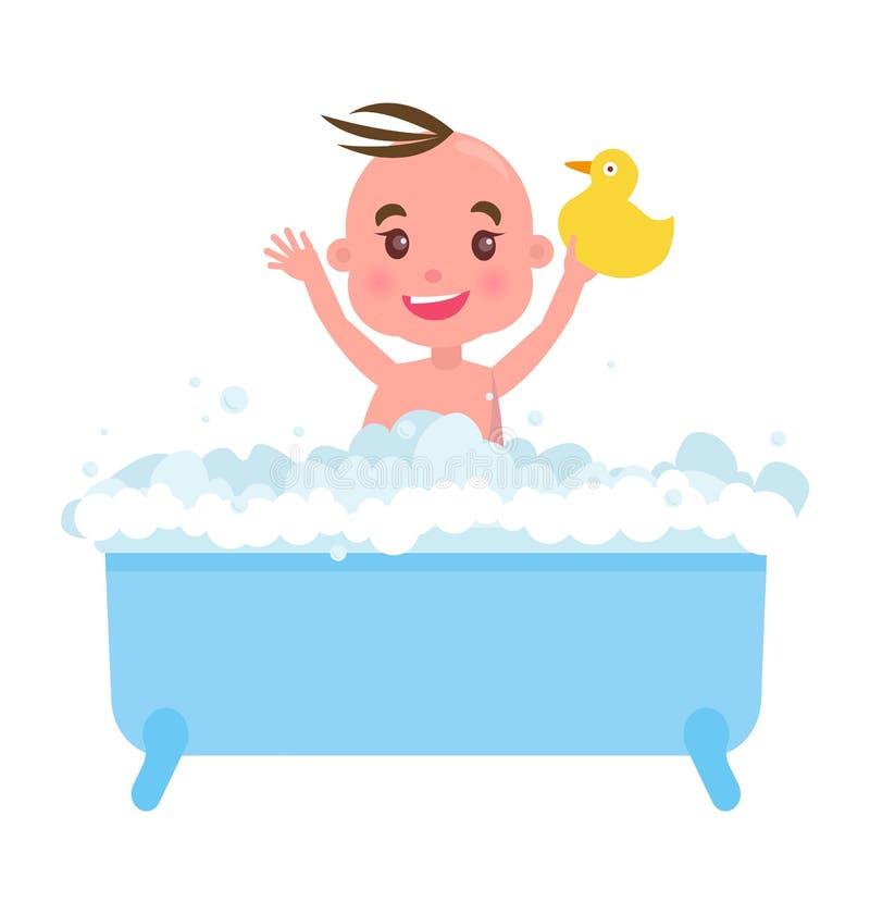 Gelukkig Little Boy in Blauw Bad met Schuim en Eend vector illustratie