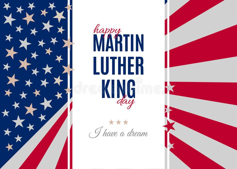Gelukkig Martin Luther King Day-groetaanplakbiljet vector illustratie