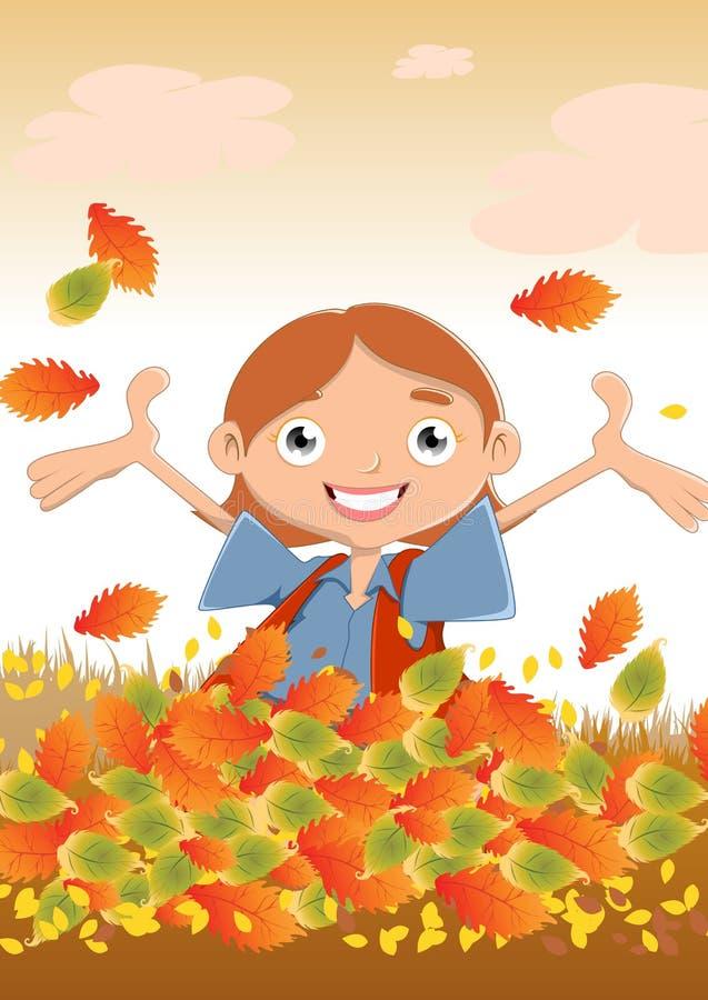 Gelukkig meisje in de herfst royalty-vrije illustratie