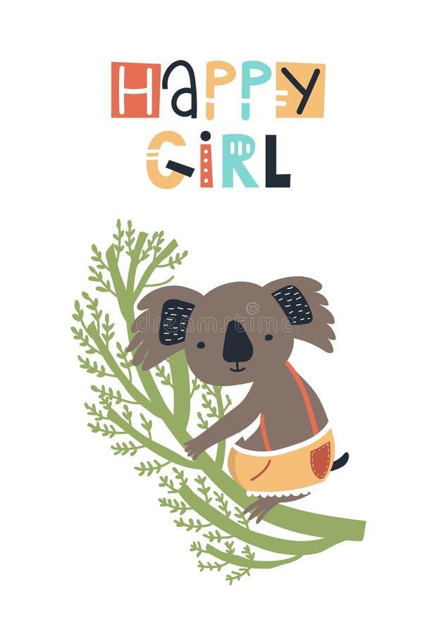 Gelukkig meisje - de Leuke jonge geitjes overhandigen getrokken kinderdagverblijfaffiche met koala en het van letters voorzien op stock illustratie
