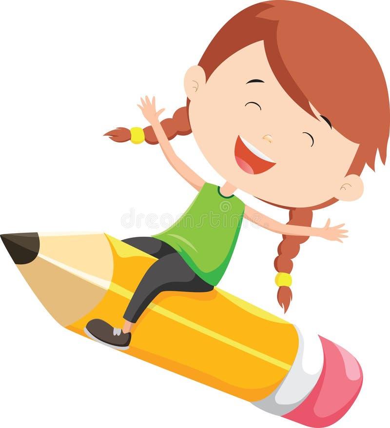 Gelukkig meisje die op een potlood vliegen royalty-vrije illustratie