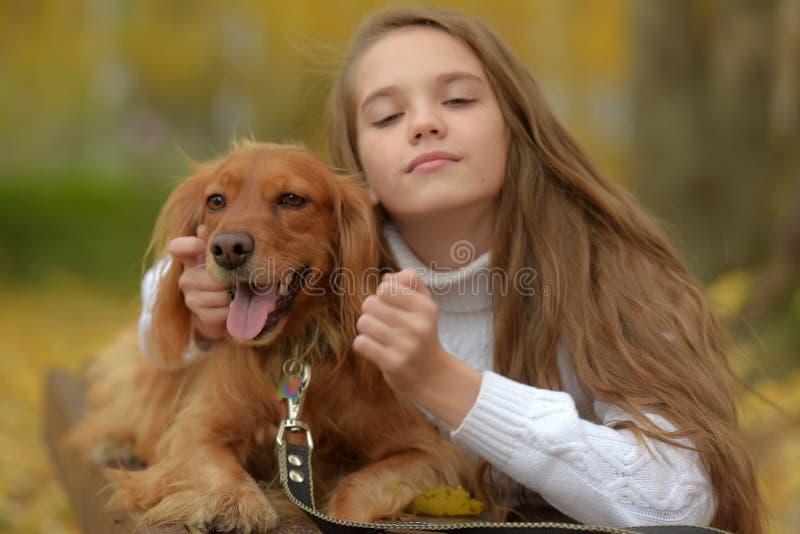 Gelukkig meisje in het park met een spaniel royalty-vrije stock foto