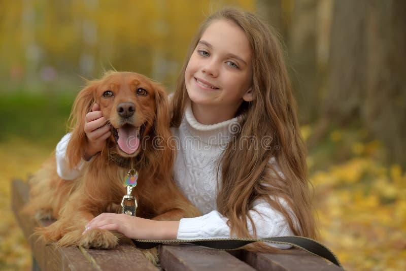 Gelukkig meisje in het park met een spaniel stock foto