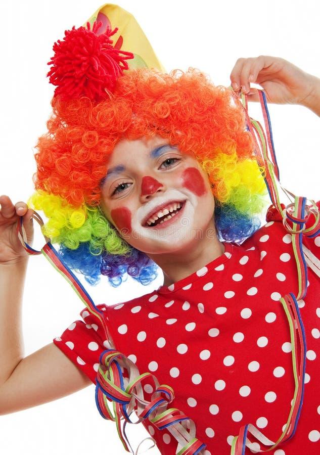 Gelukkig meisje met clownkostuum royalty-vrije stock foto's
