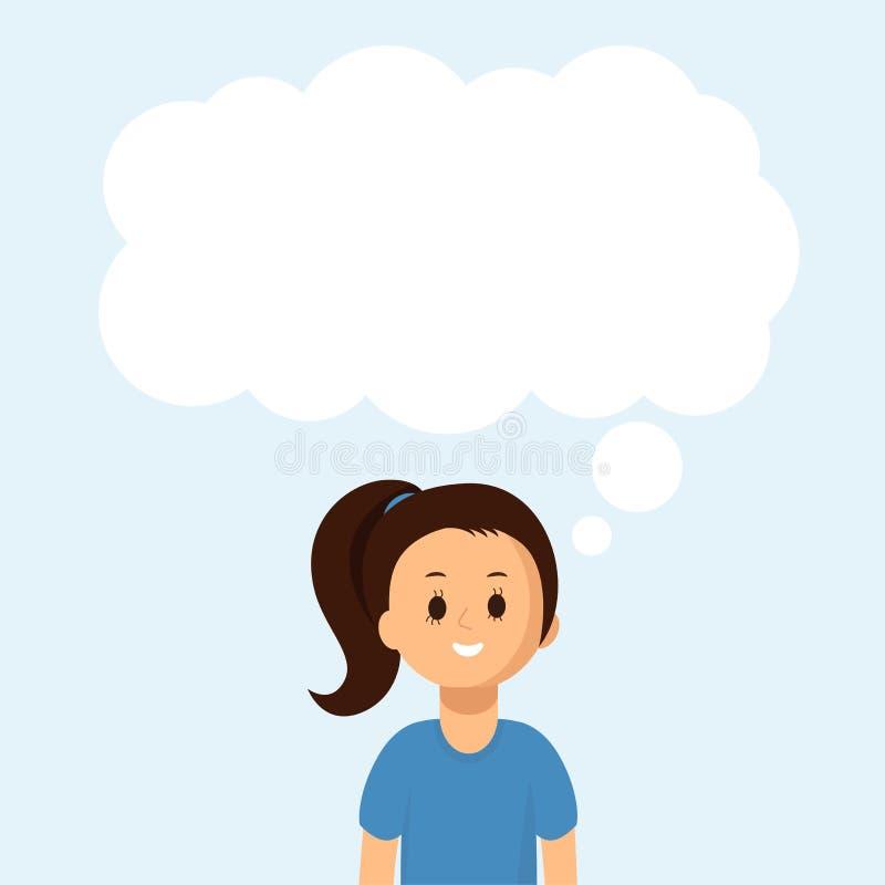 Gelukkig meisje met grote toespraakbel op blauw Vector vlakke illustratie royalty-vrije illustratie