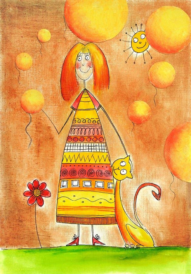 Gelukkig meisje met kat, de tekening van het kind, waterverf het schilderen royalty-vrije illustratie