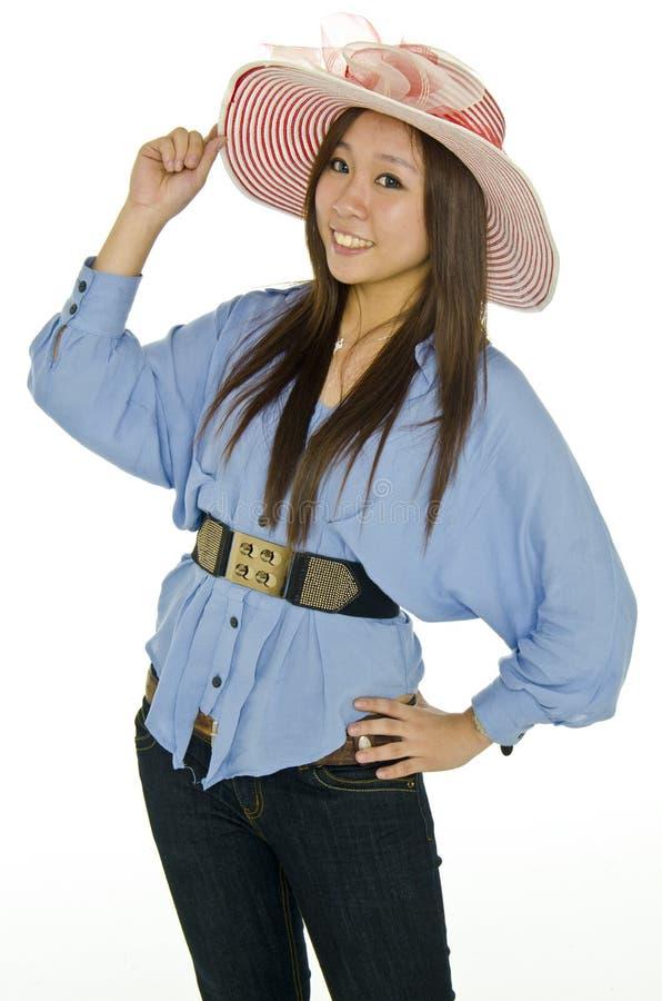 Gelukkig meisje met rode hoed stock foto's