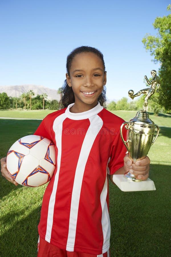 Gelukkig Meisje met Trofee stock fotografie