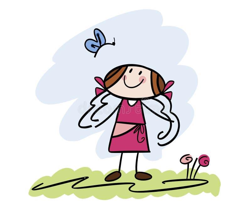 Gelukkig meisje met vlinder royalty-vrije illustratie