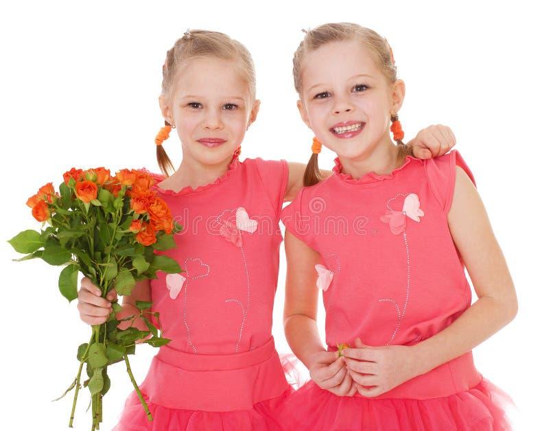 Gelukkig meisje twee royalty-vrije stock fotografie