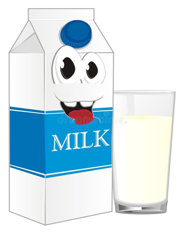 Gelukkig melk en glas melk vector illustratie