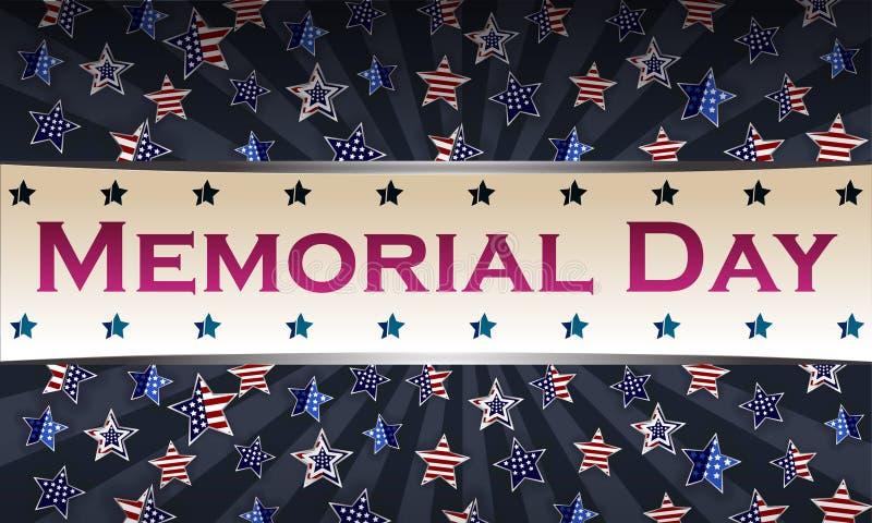 Gelukkig Memorial Day -malplaatje als achtergrond Sterren en Amerikaanse vlag Patriottische Banner Vector illustratie vector illustratie