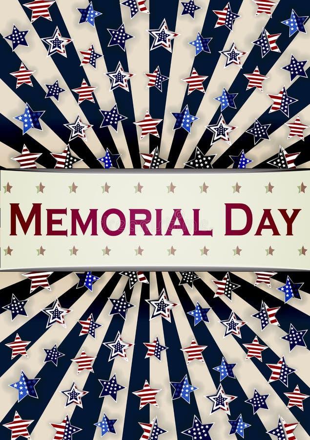Gelukkig Memorial Day -malplaatje als achtergrond Sterren en Amerikaanse vlag Patriottische Banner Vector illustratie stock illustratie