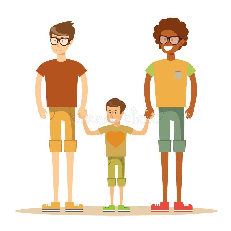 Gelukkig mengen-ras vrolijk paar met zoon royalty-vrije illustratie