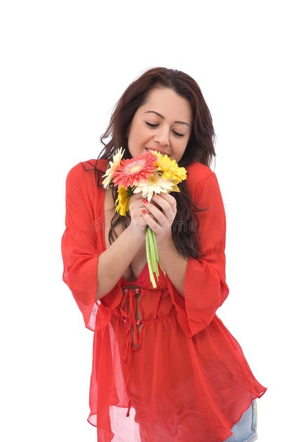 Gelukkig met bloemen royalty-vrije stock afbeelding