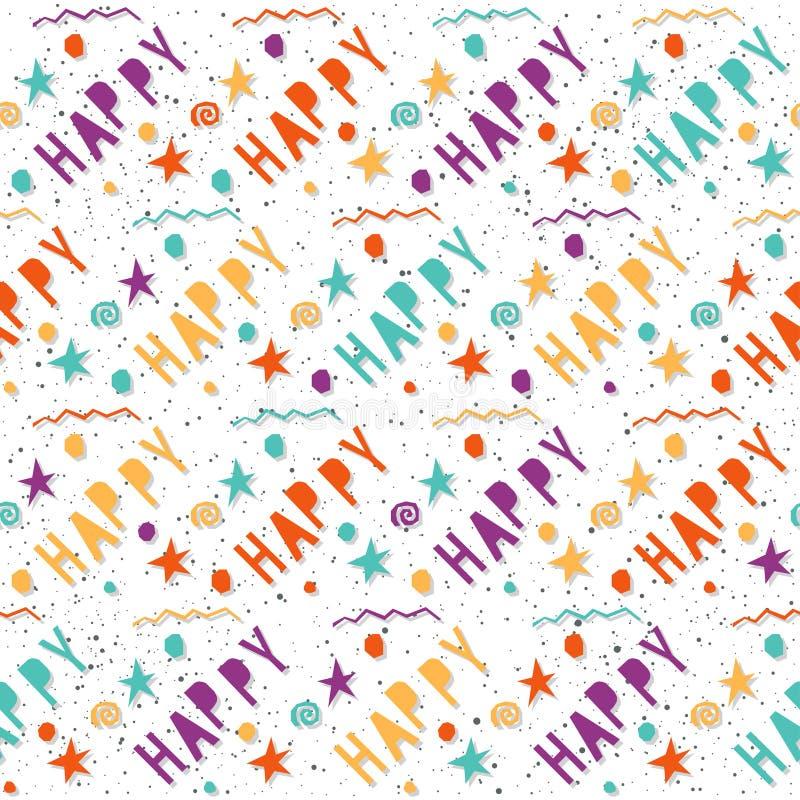 gelukkig Met de hand gemaakte brieven en geometrisch hoekig elementen naadloos patroon vector illustratie
