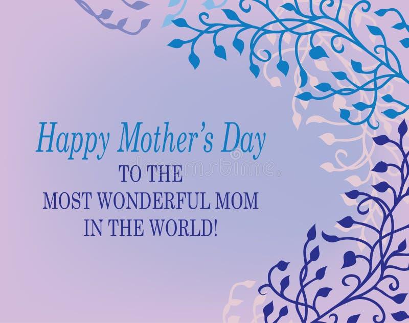 Gelukkig Moederdagontwerp met bloemenklimop en wijnstokgrens met krullen in purpere roze en blauw met tekst het van letters voorz stock illustratie