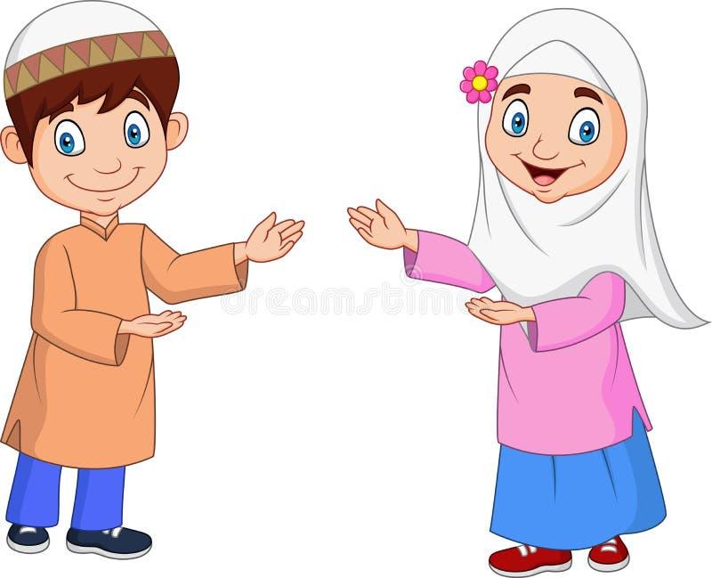 Gelukkig Moslimjonge geitjesbeeldverhaal royalty-vrije illustratie