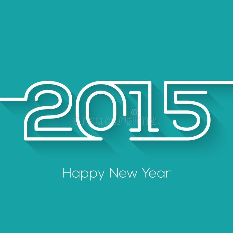 Gelukkig nieuw de kaartontwerp van de jaar 2015 creatief groet in vlakke stijl met lange schaduw stock illustratie