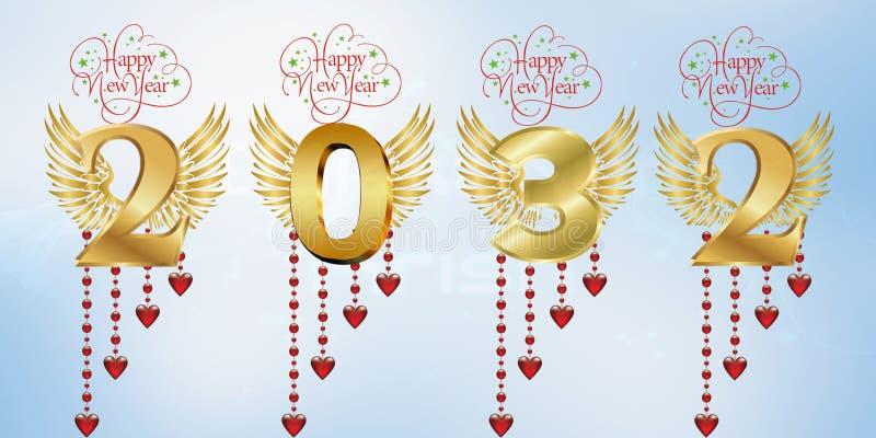 Gelukkig Nieuw jaar 2032 royalty-vrije stock afbeeldingen