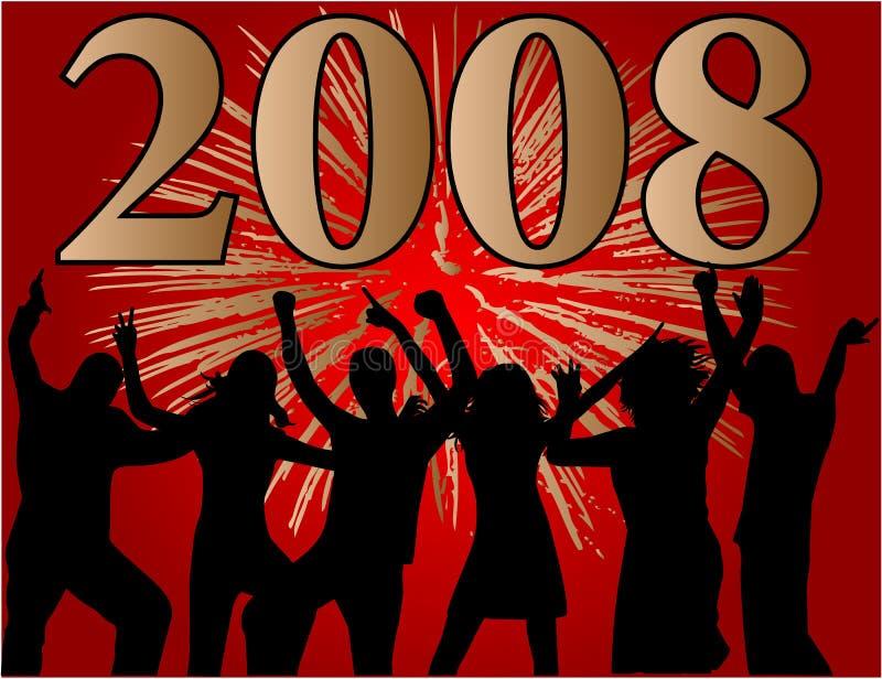 Gelukkig nieuw jaar 2008 stock illustratie