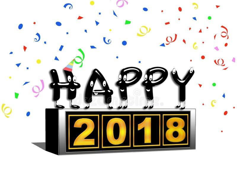 Gelukkig nieuw jaar 2018 blok stock illustratie