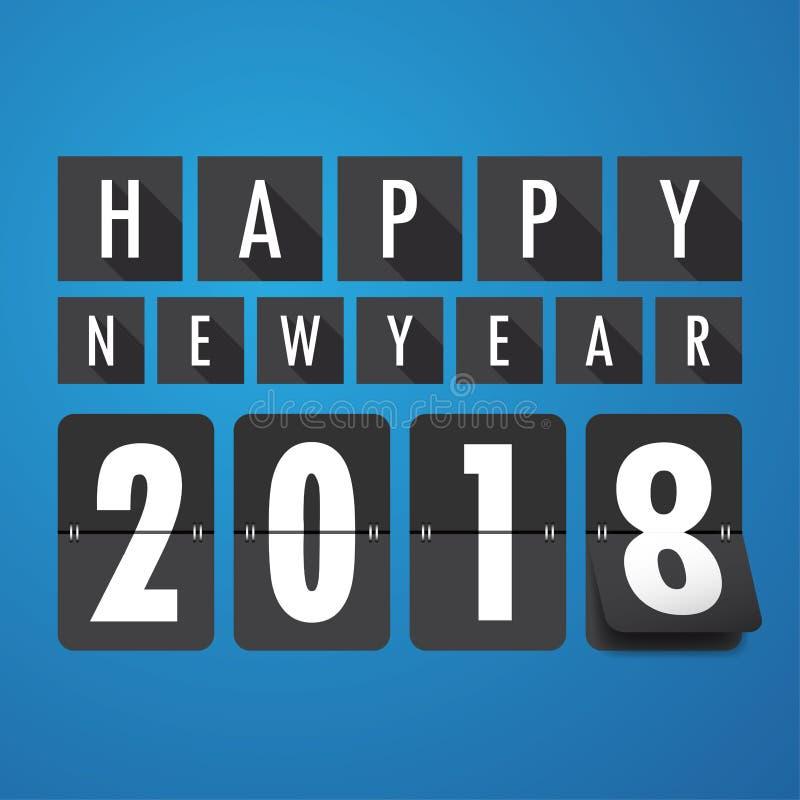Gelukkig nieuw jaar 2018 De kaart van groeten Kleurrijk ontwerp Zieke vector vector illustratie