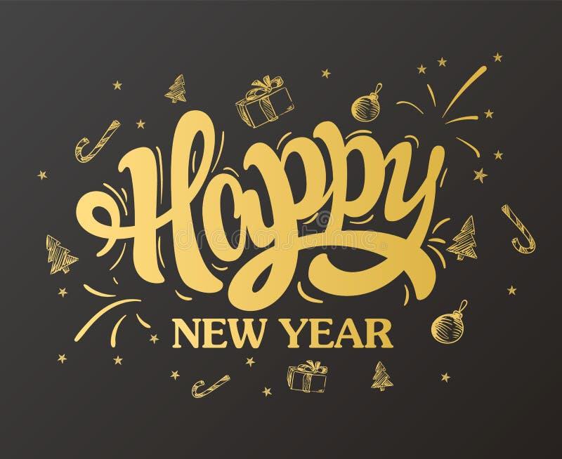 Gelukkig nieuw jaar die Gouden Ontwerp van letters voorzien Vector illustratie royalty-vrije illustratie