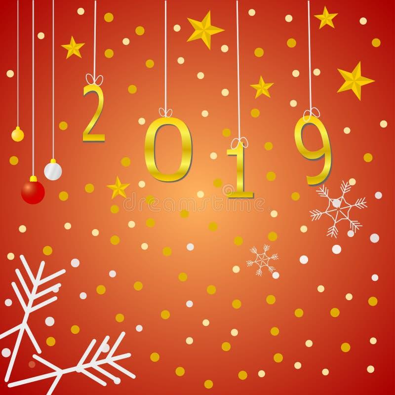 Gelukkig nieuw jaar 2019 en groetenkaart royalty-vrije illustratie