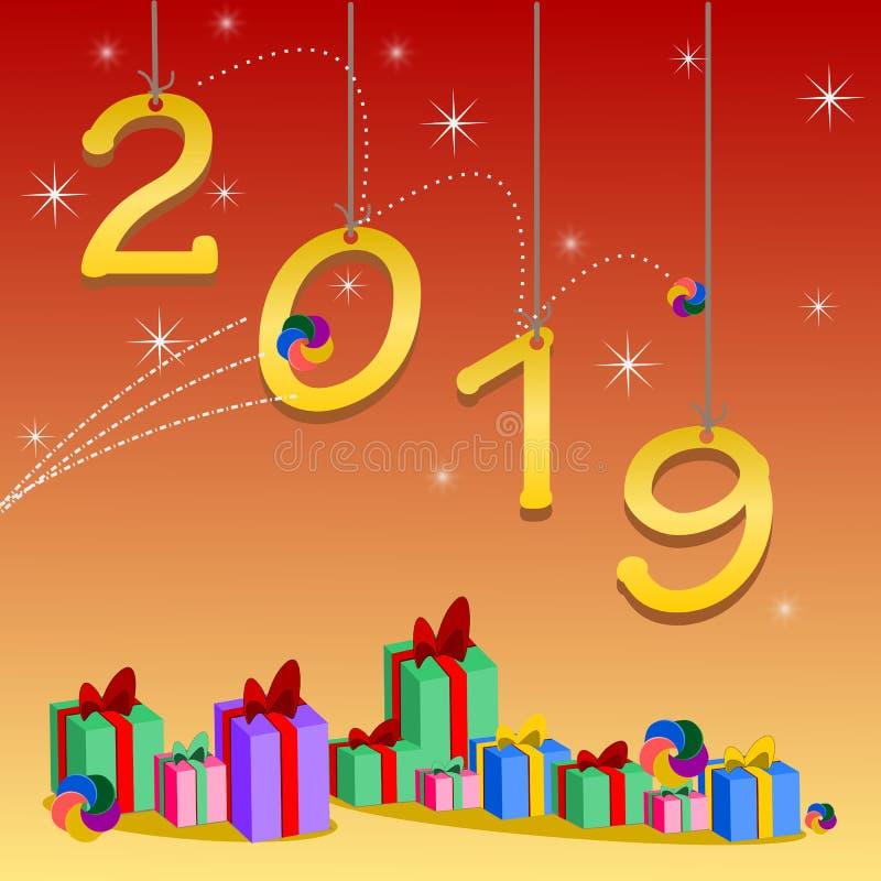 Gelukkig nieuw jaar 2019 en groetenkaart stock illustratie