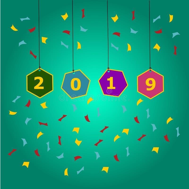 Gelukkig nieuw jaar 2019 en groetenkaart vector illustratie