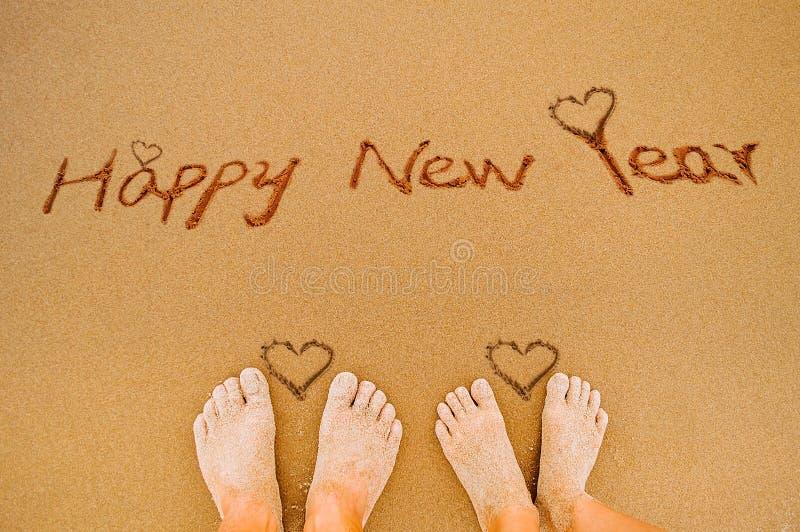 Gelukkig nieuw jaar en liefdehart royalty-vrije stock foto's