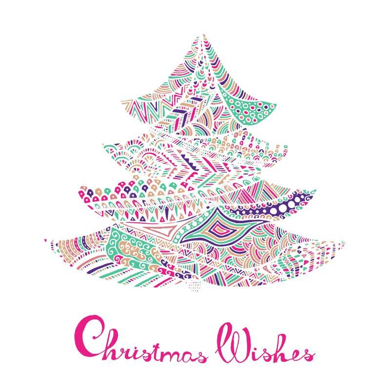 Gelukkig nieuw jaar en vrolijke Kerstmiskaart vector illustratie