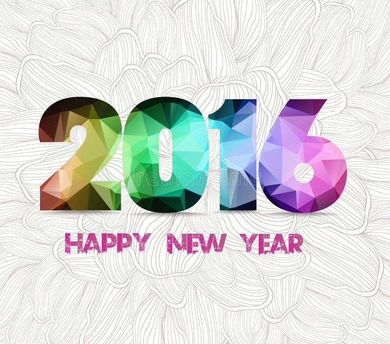 Gelukkig nieuw jaar geometrische 2016 en de krabbelachtergrond van de bloemschets royalty-vrije illustratie