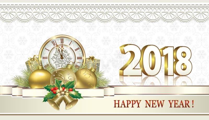 Gelukkig nieuw jaar 2018 Giftdozen met klokken en klokken stock illustratie