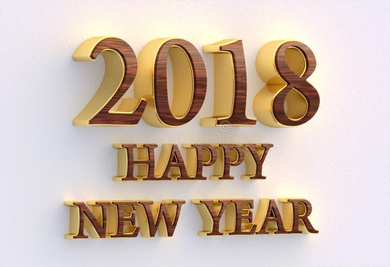 Gelukkig nieuw jaar 2018 Gouden en houten tekst - 3D ontwerpmalplaatje  vector illustratie