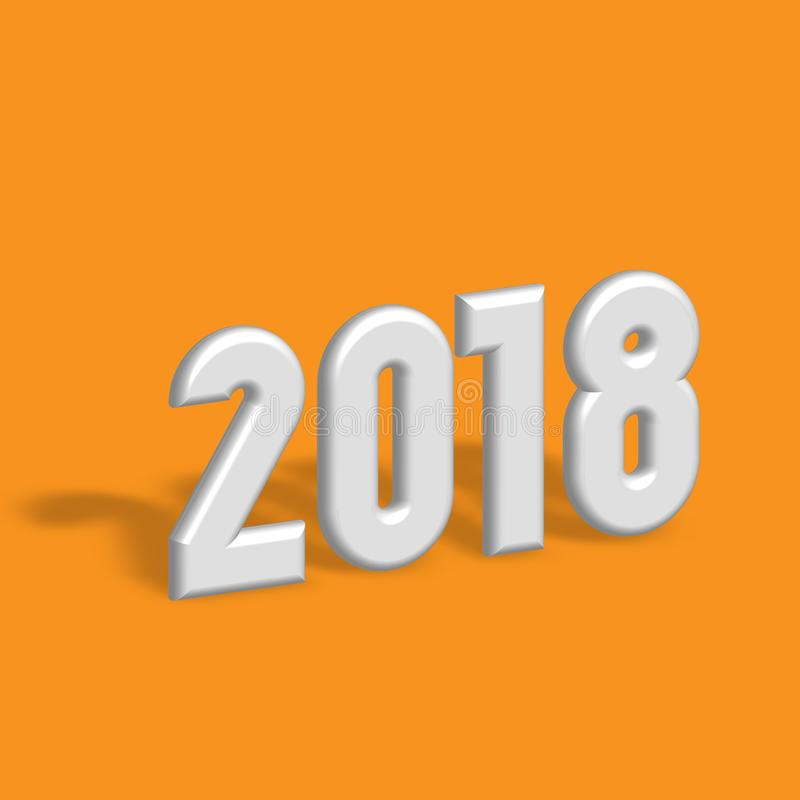 Gelukkig nieuw jaar 2018 Het moderne Element van het Ontwerp 3D zilveren metaalaantallen met gelaten vallen schaduw op oranje ach vector illustratie