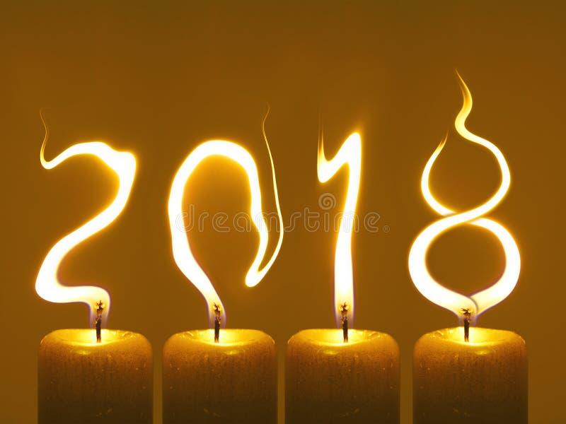 Gelukkig nieuw jaar 2018 - kaarsen royalty-vrije stock foto's