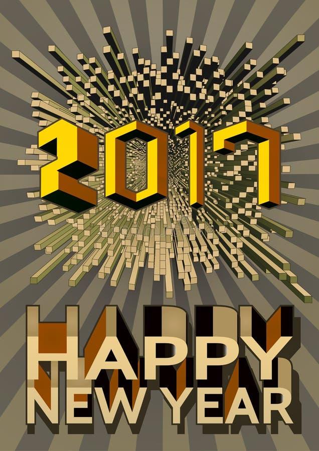 Gelukkig nieuw jaar met abstract geometrisch vorm en aantal royalty-vrije illustratie
