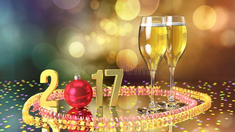 Gelukkig nieuw jaar 2017 met champagne en confettien stock illustratie