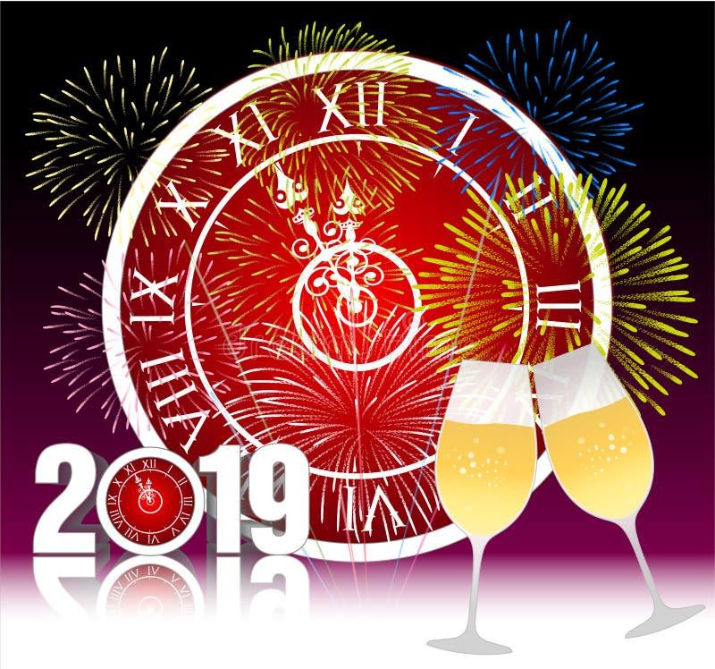 Gelukkig nieuw jaar 2019 met champagneglazen vector illustratie